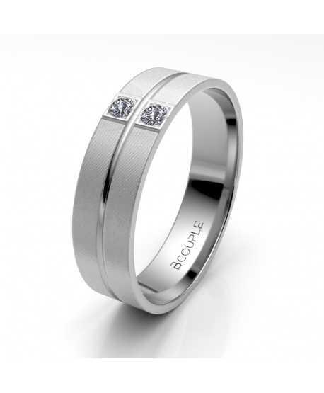 Alianza Diamantes de Oro Blanco 5mm