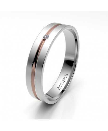 Alianza Diamante de Oro Bicolor 4mm
